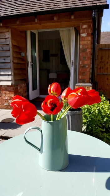 Bed and Breakfast in Eccleshall: Patio Table Flowers